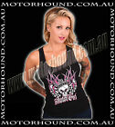 BN MOTOR GIRL ROCKABILLY FLAG VINTAGE PIN UP GIRL HOT ROD TANK TOP 8 10 12 14