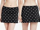 Lands' End Swim Mini Black Polka Dot Tummy Control Swim Skirt New $65