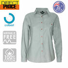 Ladies Womens Chambray Blouse Shirts Business Long Sleeve Cotton Office Green