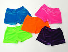YOUTH  GYMNASTIC DANCE SHORTS BRIGHT NEON STRETCH VELVET SIZE 6, 8, 10, 12 NWOT