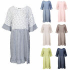 Ladies Womens Italian Lagenlook Flared Sleeve Polka Dot Checked Midi Maxi Dress