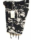 M Society Navy Camo  Men's Chief  Drawstring Legs  Belted Cargo Shorts 807