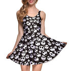 Women's Dress White mini skulls printed Sleeveless Slim Mini Dress pleated dress