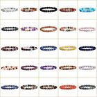 8mm Fashion round gemstone beads stretchable bracelet 7""