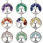 Gemstone Crystal Stone Copper Wire Tree Of Life Healing Pendant Fit Necklaces