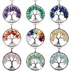 Gemstone Crystal Chips Stone Copper Tree Of Life Healing Pendant Fit Necklace