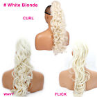 PONYTAIL Clip In On Hair Extensions White Blonde #60M REVERSIBLE 4 Styles