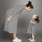 Chic Family Fitted Mother Daughter Dress O-neck Loose Summer Striped Dresses S