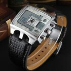 Ohsen Black Leather Band Digital Men's boys Waterproof Quartz Sport Wrist Watch