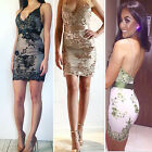 Women Sequins Deep V Neck Halter Backless Evening Party Cocktail Club Mini Dress