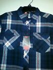Boys Southpole Brand Navy Blue Plaid Flannel Shirt Size 10/12