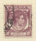 STRAITS SETTLEMENTS;   1937 early GVI Die I fine used issue 10c. value