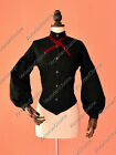 Black Victorian Gothic Women Blouse Shirt Steampunk Reenactment Clothing B314