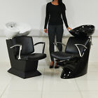 BLACK & WHITE LEATHER STYLE HAIRDRESSER BARBER CHAIR WASH UNIT