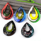 Fashion Teardrop Gold Lampwork Glass Powder Pendant Gemstone Bead For Necklace