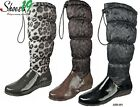 Quilted Knee High Flat Heel Boots Lady Dress Work Winter Warm Fleece Nylon Shoes
