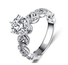 Ladies Silver Cubic Zirconia Ring Silver Plated Ring Sizes M O Q R3/4
