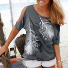 Casual Women Fashion Loose Short Sleeve Top Blouse Sexy Ladies Tops T-Shirt Gray