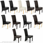 Dining Chairs Faux Leather Roll Top Scroll High Back Wood Kitchen Furniture Set