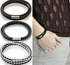 Womens Mens Black Leather Interlaced Cuff Bangle Wristband Bracelet