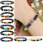 Unisex Natural 7 Gemstone Chakra Lava Rock Stone Prayer Beads Bangle Bracelet 1X