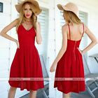 2016 Womens Summer Strappy Party Evening Cocktail Casual Mini Red Dress