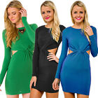 Rare Womens Long Sleeve High Waist Party Cocktail Slim Fit Bodycon Mini Dress