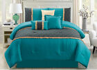 11 Piece Rouched Teal/Black Bed in a Bag w/500TC Cotton Sheet Set Queen