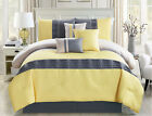 11 Piece Chevron Quilted Pleat Yellow/Gray Bed in a Bag Set Queen