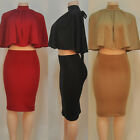 3 Colors Hot Sexy Women Lace-up Backless Cape Tops Slim Two-Piece Suit Dress