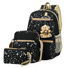 3pc Women Girls Travel Satchel Backpack Rucksack Shoulder School Laptop Book Bag