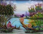 ORIGINAL OIL *reverse painting on glass* by ĐURO POPEC Croatian naive painter