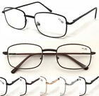 L16 Classic Rectangular Metal Frame Reading Glasses/Spring Hinge