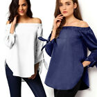 Autumn Womens Casual Loose T-shirt Tops Long Sleeve Off Shoulder Shirt Blouse