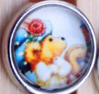 12mm Alloy Glass Bears Chunk Snap Button Charms Fit Noosa Bracelet