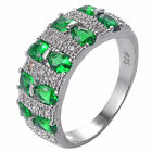 Green Emerald & White Topaz 925 Sterliing Silver Wedding Ring Size7-9# A390