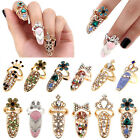 Women Fashion Bowknot Nail Ring Charm Crown Flower Crystal Finger Nail Art Rings