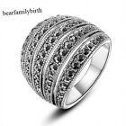 Rhodium Plated Marcasite Wide Band Coacktai Ring Retro Vintage Antique  R1028