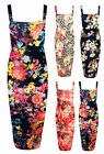 Ladies Floral Print  Bodycon Midi Dress Womens Sleeveless Wide Strappy Dress8-22