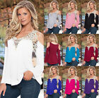 Fashion Summer Womens Deep V Loose Casual Long Sleeve Lace Shirt Blouse Tee Tops