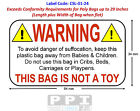 WARNING DANGER OF SUFFOCATION Labels for Polythene Poly Plastic Bags, CSL-01-24