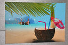 Coconut On The Beach WALL ART  CANVAS PICTURE Original or WITH - DIAMOND DUST!