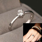 White Sapphire Claw Band 10KT White Gold Filled Womens Engagement Ring Size 5-12