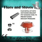 Flue Liner Kit Installation Anti Down Draft draught Cowl Chimney Stove 316 grade