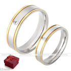 Mens Womens Stainless Steel Cubic Zirconia Gem Wedding Engagement Ring Band Gift