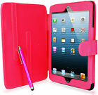 Pu Leather Wallet Case Cover Lcd Film & Stylus Pen For Apple Ipad Mini