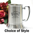 Godfather Gift - Engraved Silver Beer Stein - Add a Name & Message