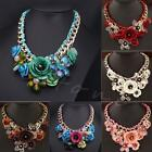 Choker Collar Fashion Crystal Pendant Jewelry Statement Chunky Flower Necklace