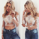 Women Slash Neck Blouses Lace Slim Tops Crochet Short Sleeves Mini Shirt Tee