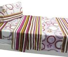 nEw FLORAL CIRCLES STRIPES BED SHEETS SET - Pink Daisies Orange Flowers Bedding